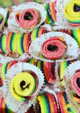 Rainbow cake gulung