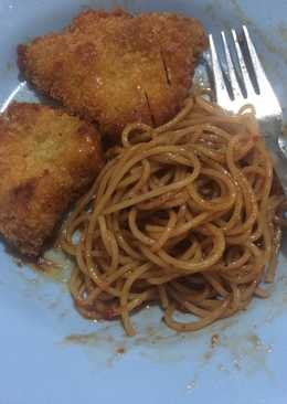 Spaghetti Barbeque with chiken katsu