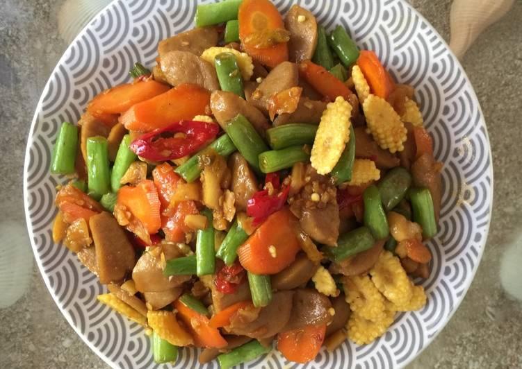 Tumis buncis, wortel, putren & bakso