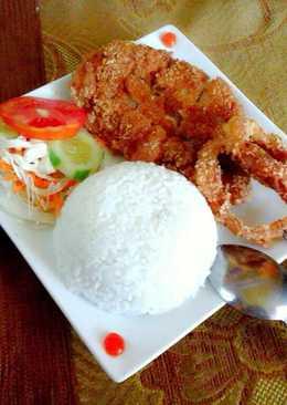 Nasi ayam katsu + onion ring