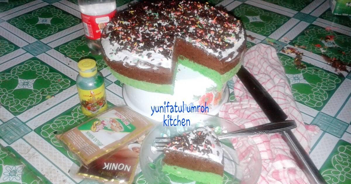 Resep Bolu pandan coklat kukus yummy!!!! Step by step....