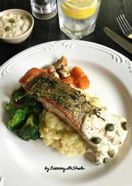 Salmon Steam With Mustard Sauce