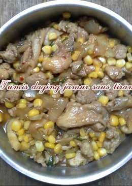 Tumis daging jamur saus tiram