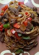 Beef blackpepper spaghetti (healthy diet food)