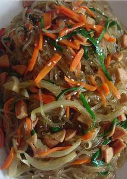Japchae sosis ayam bumbu asli Korea