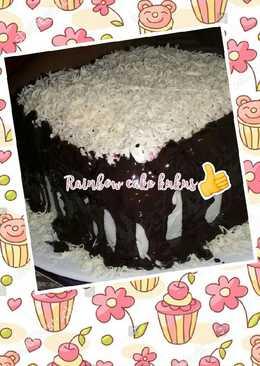 Rainbow cake kukus with krim😋