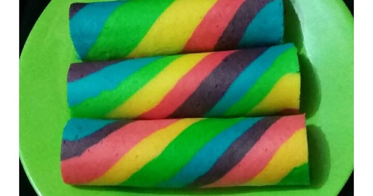 Resep Rainbow Roll / Bolu gulung pelangi