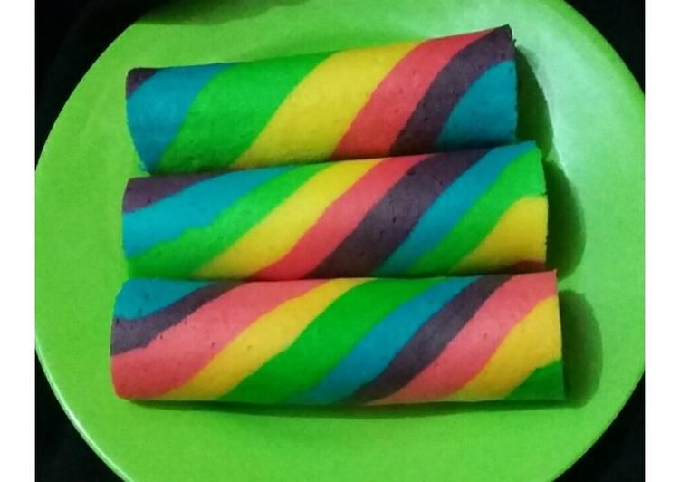 Resep Rainbow Roll Bolu Gulung Pelangi Oleh Ibun Cookpad