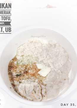 Mpasi 7m+ Oat, ikan kakap merah, silken tofu, pakchoy, tomat, ub