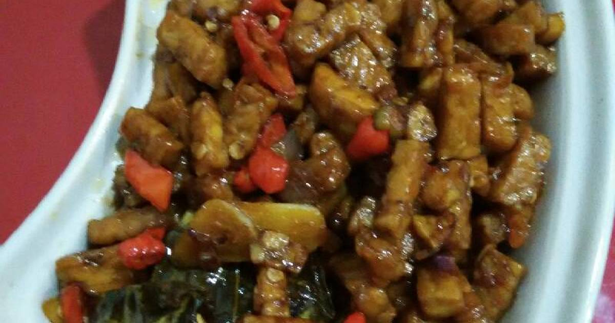 resep orek tempe pedas topping nasi uduk oleh maria