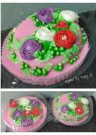 Puding strawberry jelly cream flower