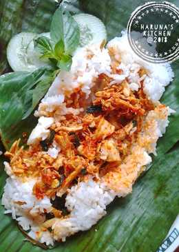 Nasi Bakar Ayam Suwir Kemangi Bumbu Bali