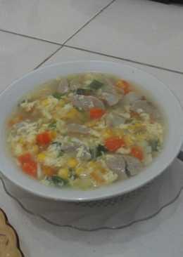 Sop jagung telur +bakso n wortel