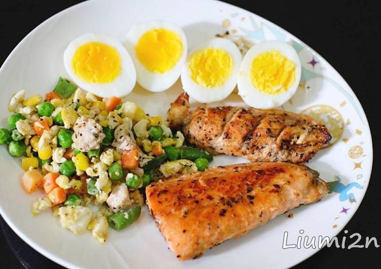 Resep Lunch Salmon Chicken Grilled Menu Sehat Diet Oleh Liu