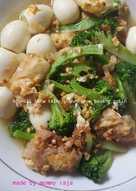 Brokoli tofu telor puyuh saus bawang putih
