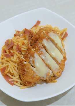 Spaghetti Chicken Katsu Mozzarella