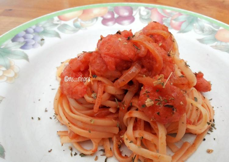Spaghetti Saus Udang Pedas