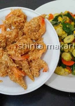 Udang goreng oatmeal dan tumis sayuran