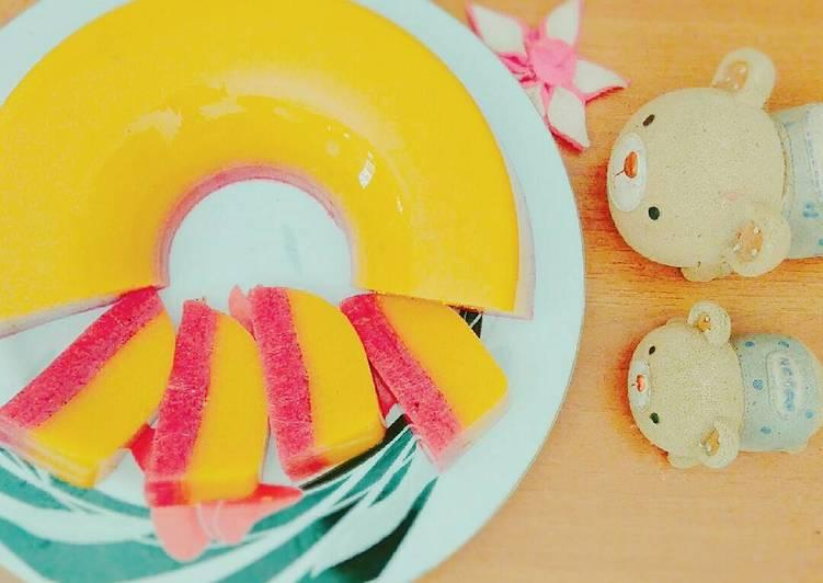 resep masakan Puding Susu Manggo With Dragon Fruit