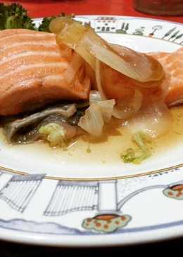 Salmon kukus sederhana