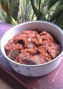 Rendang daging dan paru sapi