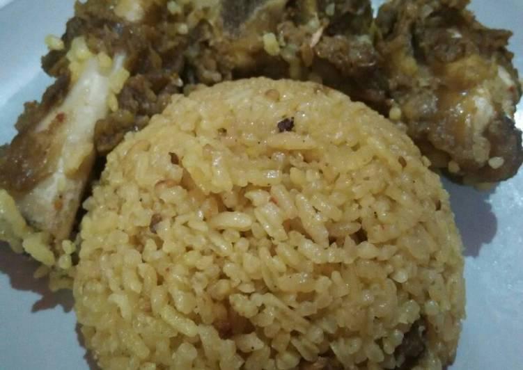 Nasi kebuli kambing rice cooker