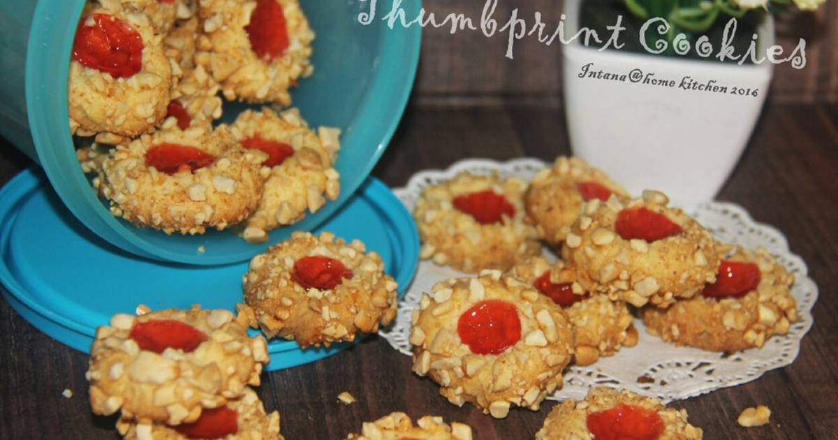 Resep Peanut Strawberry Thumbprint Cookies