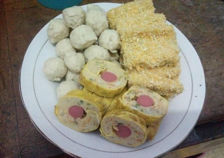 Nugget rollade pentol ayam dalam 1 adonan
