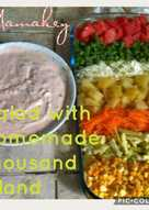 Salad with homemade thousand island dressing