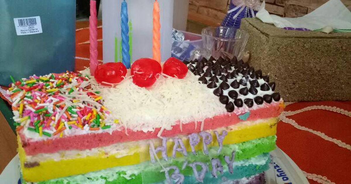 Resep Rainbow Cake Kukus Istimewa: Resep Rainbow Cake Kukus Oleh Ayu Ayu