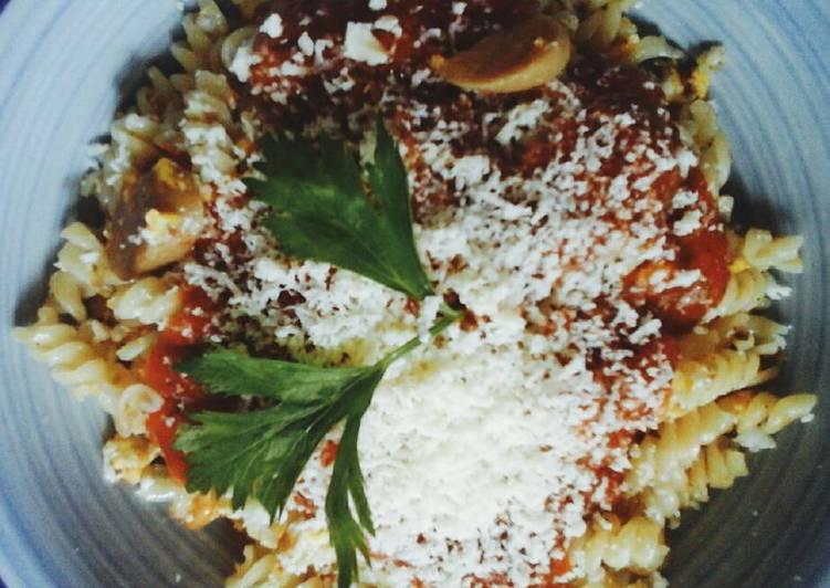 Resep Sausage Fusili with Cheese and Spaghetti Sauce - Icha Hadiqah