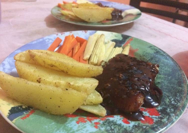 resep dori steak blacpaper oleh ary wardani cookpad