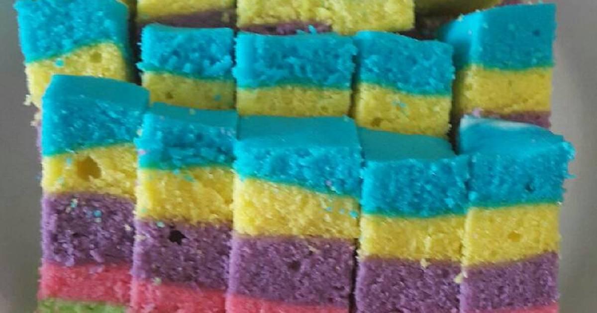 Resep Rainbow Cake Kukus Istimewa: Resep Kue Lebaran: Resep Rainbow Cake Kukus Putih Telur
