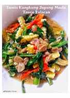 Tumis kangkung jagung muda tauco belacan (terasi)