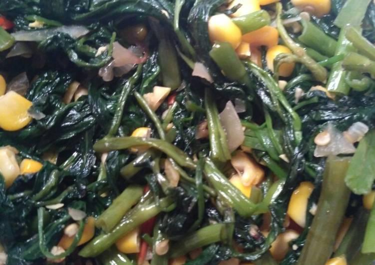 Tumis kangkung + jagung simple