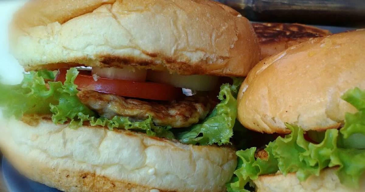 resep burger isi ayam telur oleh diana noy adiatie   cookpad