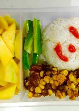 Onigiri tongkol + tumis jagung spesial