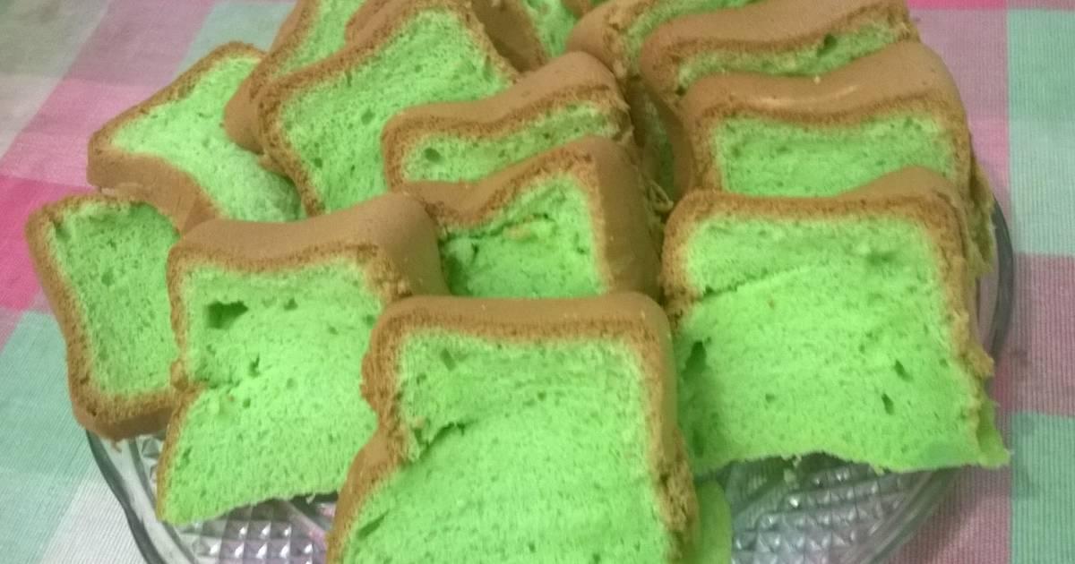 Resep Pandan Chiffon Cake panggang dgn baking pan.. empus2, lembut, moist