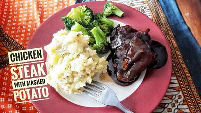 Chicken Steak with mashed potato