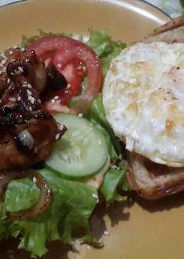 Chicken teriyaki waffle sandwich