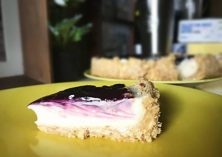 Resep No Baked Blueberry Cheese Cake (Pakai keju oles) versi ekonomis Dari Adam's Mommy