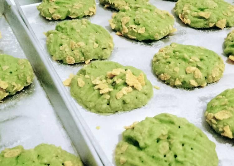Cornflakes cookies pandan
