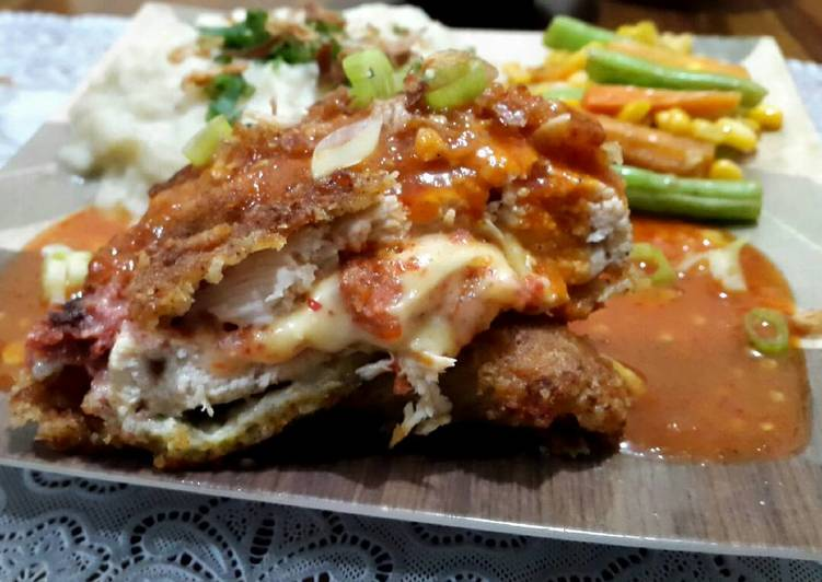 Resep Chicken Cordon Bleu saus Spicy Barbeque - Suci Nabbila