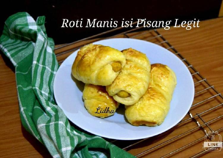 Roti Manis isi Pisang Legit oleh Holidha Rita Resep (Overnight soft bun) Roti Manis isi Pisang Legit - Holidha Rita