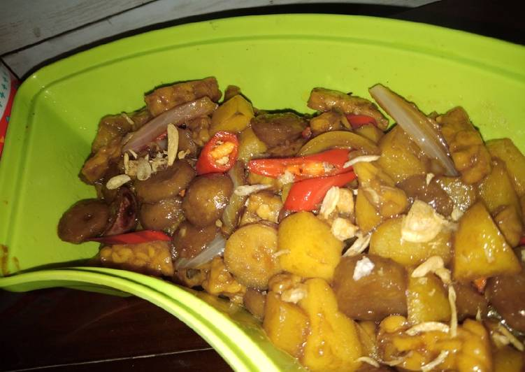 Tumis kentang bakso tempe