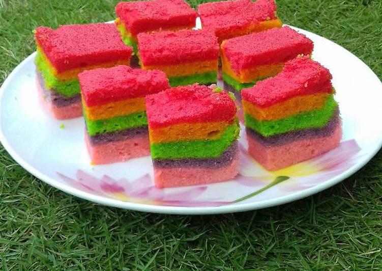 Resep Rainbow Cake Kukus Istimewa: Resep Rainbow Cake Kukus Lembut Oleh Rinda Tuselmi