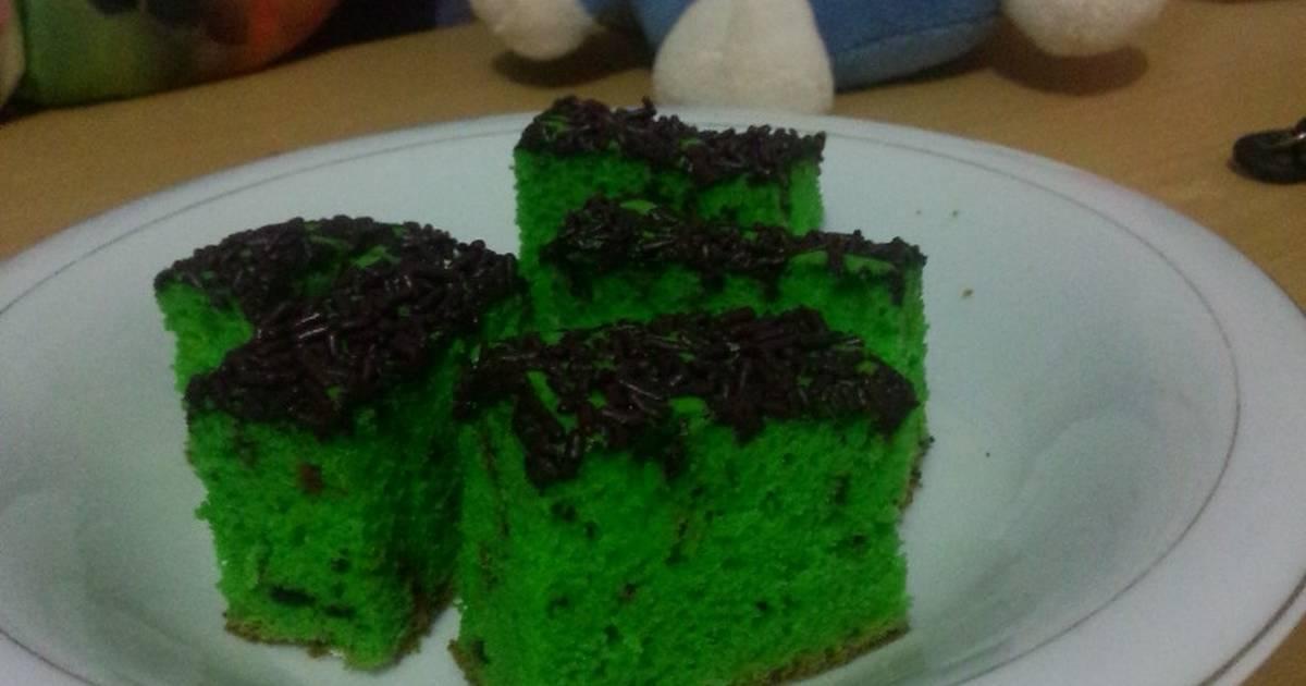 Resep Bolu pandan cake tabur coklat messes