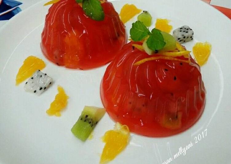 Resep Puding jelly strawberry ?? Kiriman dari Susan Mellyani