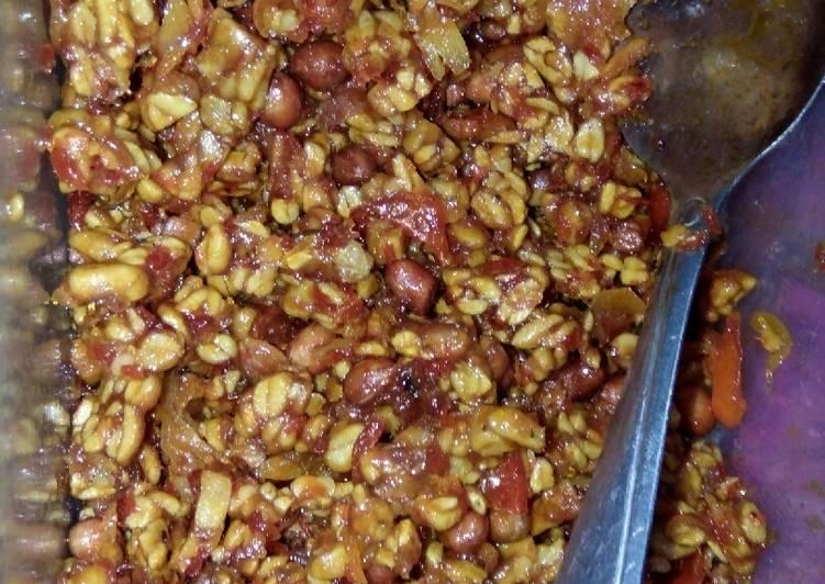 Kering tempe kacang karamel bumbu iris