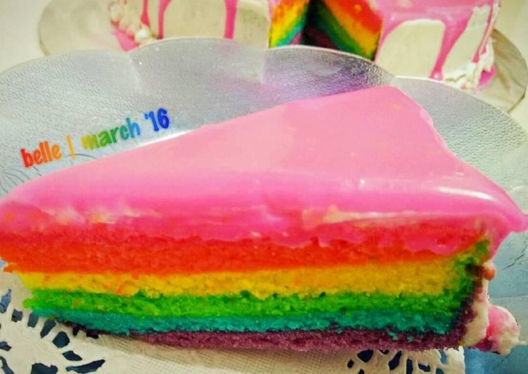gambar untuk cara membuat Steamed Rainbow Cake with Buttercream and White Chocolate Ganache.. Highly Recommended!! (Rainbow Cake Kukus)